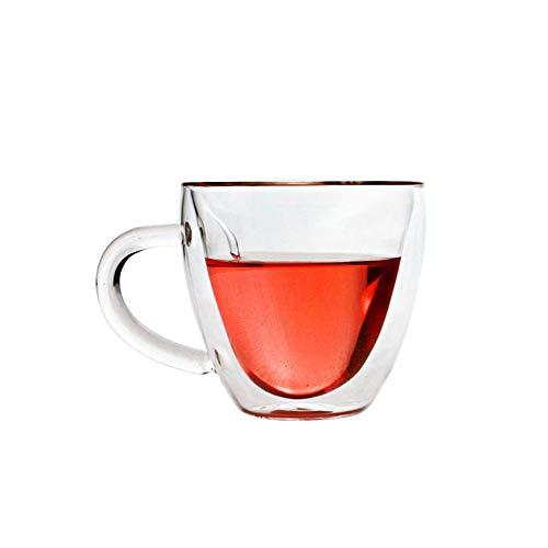 Zweischichtiges Glas, hitzebeständig, mit Henkel, Kaffeetasse, Borosilikat, transparente Herzform - Demitasse Cup