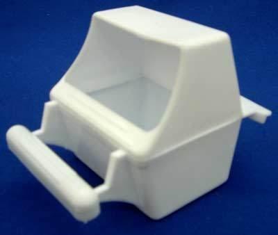 Mcage Lot von 4Vogelkäfig Weiß Kunststoff Samen Wasser Feeder Becher (Feeder Birdcage)