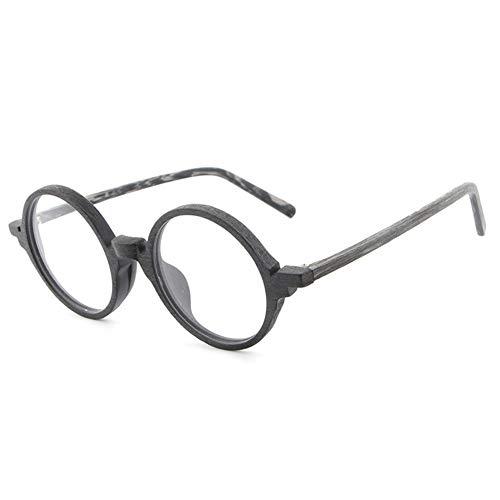 New Plate Holzmaserung Rahmen Retro Kunst Neue Gläser Flut Menschen Flache Gläser Rahmen männlich Brille (Color : Black Frame Gray Legs)