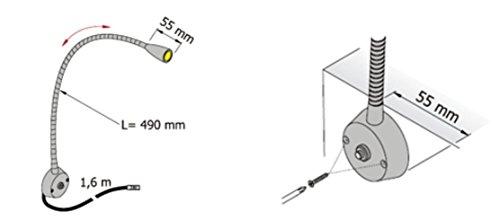 LED Aluminium Leselampe – anschlussfertig mit Netzstecker 230V – mit Schwanenhals und Schalter - 4