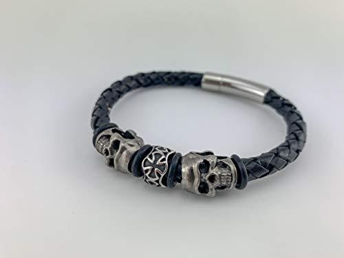 Armband Lederarmband schwarz black 6mm Rinderleder für Herren Männer Schmuck Totenkopf sehr cool Bikerschmuck Rockerschmuck LA41