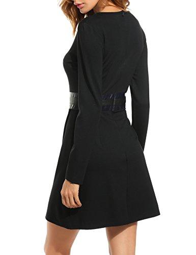 ACEVOG Damen Kleid Winter schwarzes Wickelkleid Langarm mit Rundhals knielang Freizeitkleid Casual Kleid -