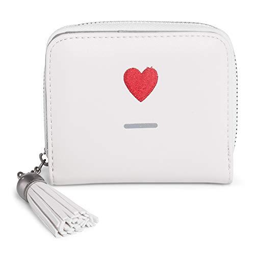 Damen Geldbörse Vegan Leder Quaste Mädchen Geldbeutel Portemonnaie Damenbörse Süß Herz Weiß