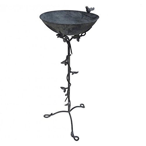 Cast Iron Large Bird Feeder With Bird Bath Bowl On Foot And 33x33x81 cm