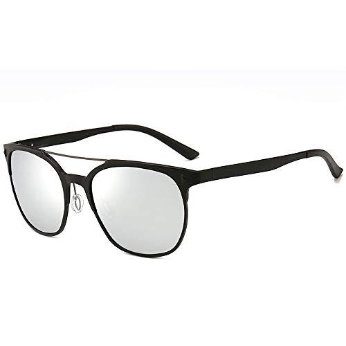 Exquisite Schutzbrille Sonnenbrille Dünn und leicht Druckschutz Nose Bridge Herren Hochwertige Aluminium-Magnesium-Legierung Polarisierte Sonnenbrille Brille (Farbe : White)