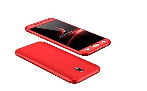 Cover Samsung Galaxy J5 2018,Cover TPU Galaxy J5 Ultra Sottile Silicone Cover,360° della Copertura Completa Protettiva Case 3 in 1 Guscio Compatibile Samsung J5 Rosso +3D Vetro Temperato