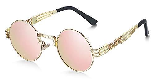 WHCREAT Rund Retro Polarisierte Sonnenbrille Steampunk Stil Brillen