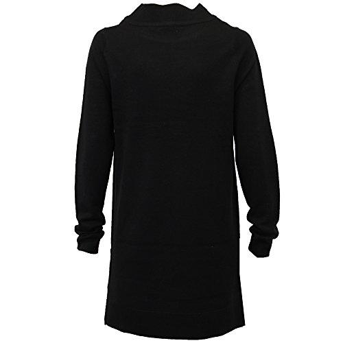 Pull DAMES long longueur femmes Heart & Soul tricoté col large fermeture éclair Fête NEUF Noir - ilu020pka
