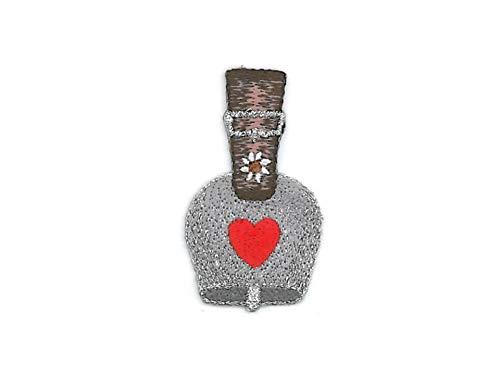 gedeacc-kreativ Bügelbild Flicken Patch Aufnäher Applikation zum Aufbügeln Trachten Glocke Kuhglocke Herz grau Silber 3,0 cm x 5,0 cm -