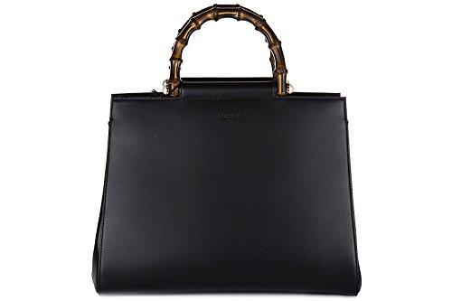 Gucci-womens-leather-handbag-shopping-bag-purse-nymphaea-bambu-black