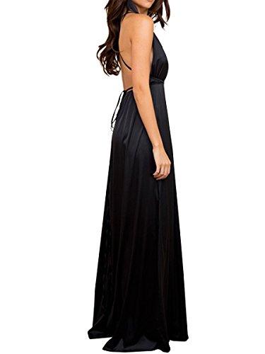 Simplee Apparel Damen Partykleid Elegant V-Ausschnitt Rückenfrei Maxi Lang Satin Träger Kleid Abendkleid Cocktailkleid Schwarz