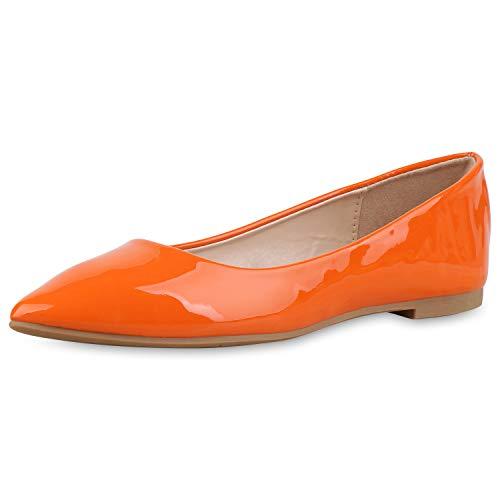 SCARPE VITA Damen Klassische Ballerinas Lack Slippers Slip On Schuhe Flats 174420 Orange 36 - Ballerinas Orange Schuhe Frauen