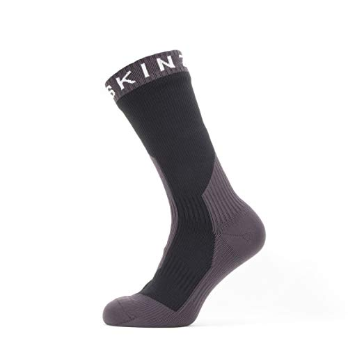 SealSkinz Waterproof Extreme Cold Weather Mid Length Sock, Black/Grey/White, L