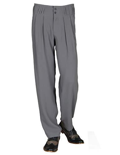 H K Mandel Bundfaltenhose mit Extraweit geschnittene Beine in Grüngrau, Model Boogie, 301713 Größe 50