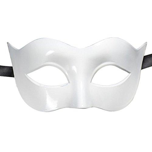 OULII Maskerade Maske Männer Ball Party Halloween Karneval Kostüm halbe Gesicht Maske (Die Maske Weiße Halloween)