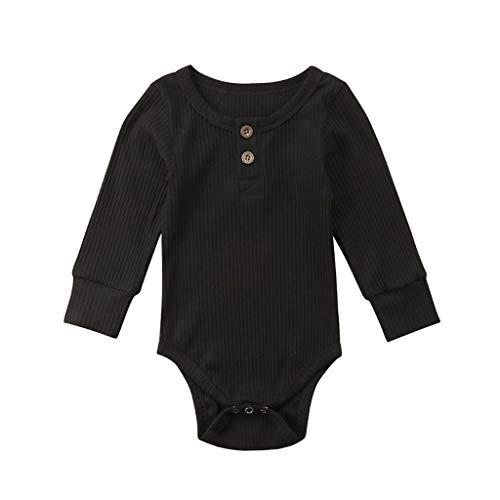 Livoral 2019 Surprise Kleinkind Baby Kinder Mädchen Jungen Langarm Feste Strampler Bodysuit Freizeitkleidung(Schwarz,60) ...