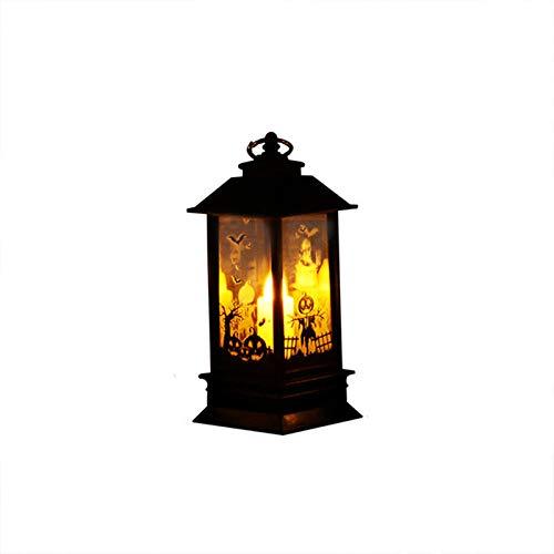 FORNORM Halloween-Nachtlicht, Warm Weiß Flamm Licht Halloween-Laterne Licht mit Kürbis Mustern, Batteriebetrieben für Halloween-Dekorationen