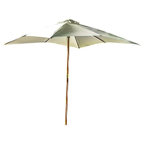 Kingfisher 3m x 3m Teak Wooden Parasol Cream Outdoor Garden Patio Furniture