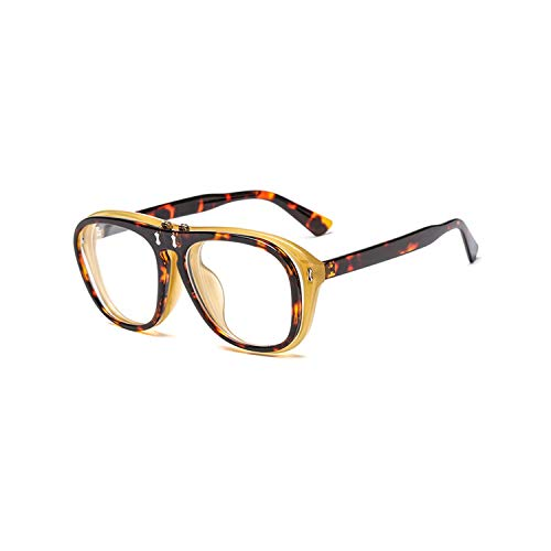 Sport-Sonnenbrillen, Vintage Sonnenbrillen, Vintage Steampunk Flip Up Sun Glasses Women Men Square Sunglasses Unique Clamshell Frame Yellow Lens Shades CC0993 C2 Leopard clear