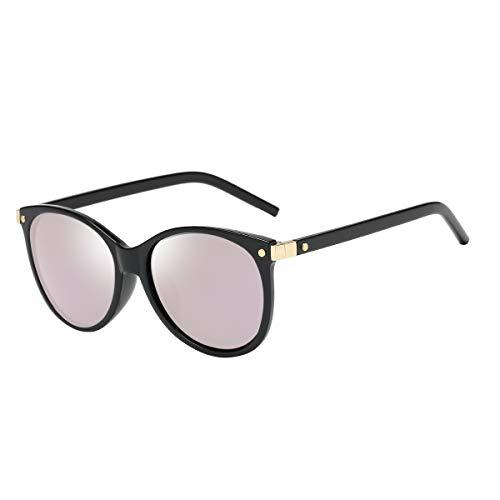CHEREEKI Damen Mode Sonnenbrillen Oval Klassisch Brille Verspiegelt Sonnenbrille für Frauen UV400 Schutz (Schwarz Pink)