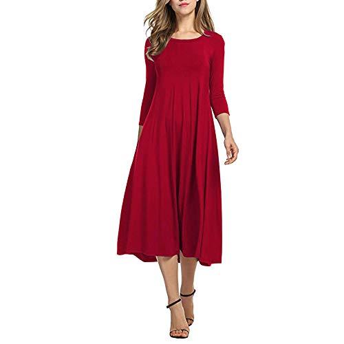 Xmiral Damen Kleid Herbst Halbe Hülse O Ansatz Lose Strand Beiläufiger Rock Damen Elegante Abend Lange Kleider (3XL,Rot)