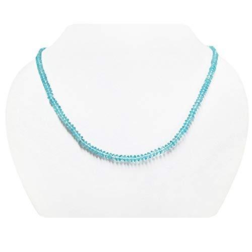 Handgemachte blaue Apatit Untertasse Perlen Halskette Strang mit Sterling Silber Erkenntnisse 16