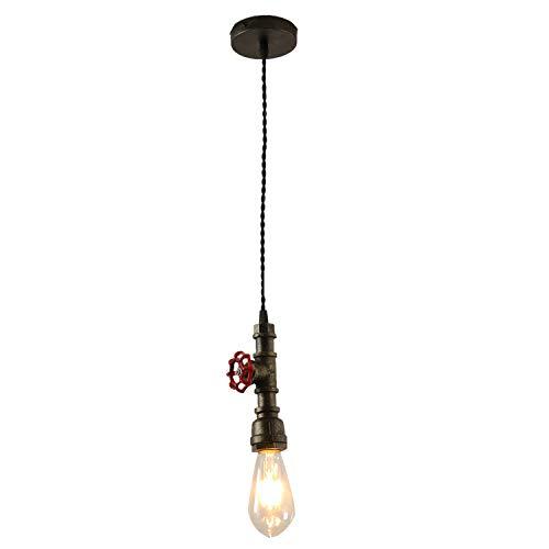 Injuicy Industrielle Vintage E27 Edison Metall Eisen Wasserrohr Deckenlampen Pendelleuchte Hängeleuchte für Wohnzimmer Schlafzimmer Nachttisch Restaurant Korridor
