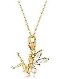 Disney Couture - Collar con colgante chapado en oro, diseño de Campanilla con alas de cristal