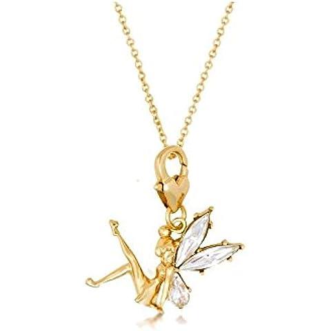 Disney Couture Placcato Oro Tinkerbell con ali di cristallo ciondolo e collana