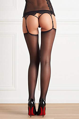 Cut and Curled 20 DEN Sheer Stockings Schwarz - L/3 Cut Sheer