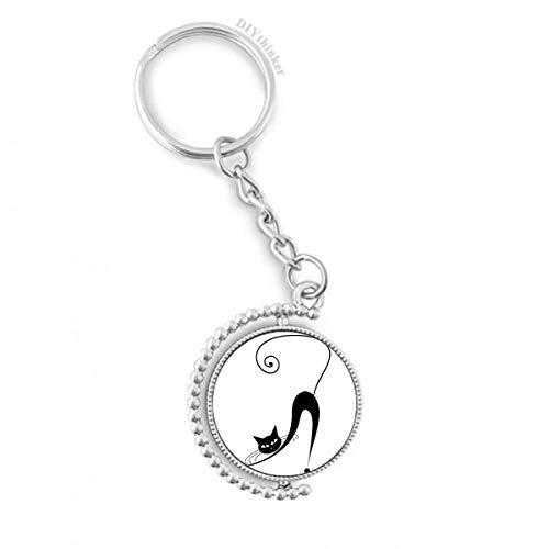 atze Stretch Halloween-Tier-Kunst Silhouette Drehbare Schlüsselanhänger Ringe 1.2 Zoll x 3.5 Zoll Mehrfarbig ()