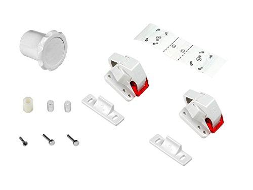Emuca 8929420 Unsichtbares Sicherheitsschloss Kindersicherung für Schranktüren und Schubladen (2 Schlösser + 1 Magnetschlüssel)