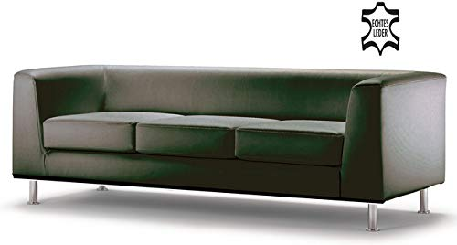ClassicLine Sofa Wait, Dreisitzer, 198x78x66cm, m.Arml, Leder, sw