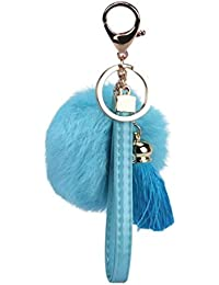 Voberry Women's Keychain with Tassels Plush Cute Fur Key Chain for Car Key Ring Or Bags