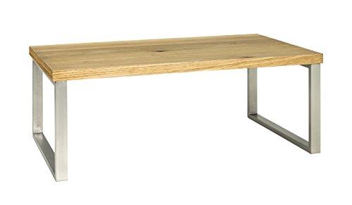 Haku-Möbel 15619 Couchtisch, Metall, Eiche-edelstahloptik, 60 x 100 x 38 cm -