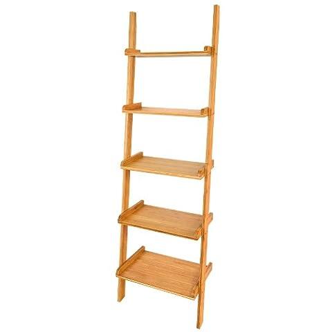 SoBuy® Ladder Shelf, Storage Display 5 Tiers Wall Shelf Bookcase, FRG17-B-N