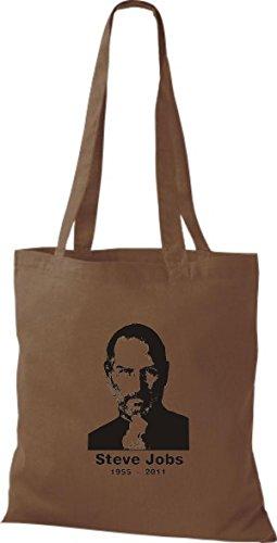 ShirtInStyle Stoffbeutel Steve Jobs in Memory of Baumwolltasche Beutel, diverse Farbe chestnut