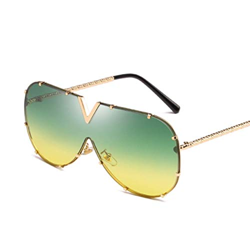 WYJW Für Männer \u0026 Damen XL Large Oversized Super Flat Top Square Two Tone Farbe Mädchen Mode Sonnenbrillen One Piece Colored Glasses