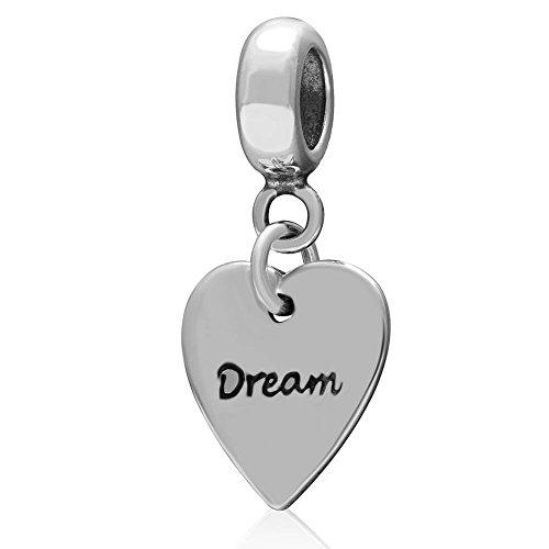 Soulbead charm a forma di cuore in argento sterling 925 con pendente, per san valentino o per il fai da te, europea dream in heart dangle