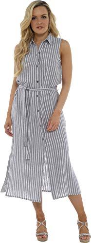CityComfort Abito-Camicia di Lino Kaki O Blu | Vestito Camicia Midi con Cintura | Abito Lungo da Donna | Vestiti Estivi Eleganti Senza Maniche (38, Striscia Grigia)