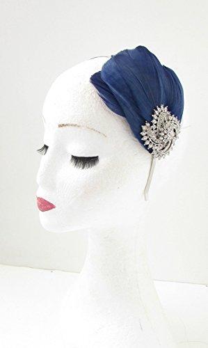 Bibi à plumes Bleu marine/bleu/argenté strass bandeau bandeau VTG 8 années ab * * * * * * * * exclusivement vendu par – Beauté * * * * * * * *