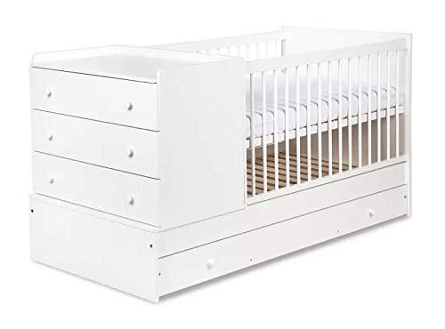 Naka24 Kompakt Kinderbett Jungendbett mit Rausfallschutz Kommode und Wickeltisch 4-in-1 (Weiß) - 4in 1 Kinderbett