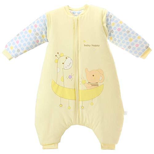 Baby Schlafsack mit Beinen Warm gefüttert Winter Langarm Winterschlafsack mit Füssen,Junge Mädchen Unisex Overall Schlafanzug(XL/Koerpergroesse 95-105cm, Gelb/3.5 Tog)