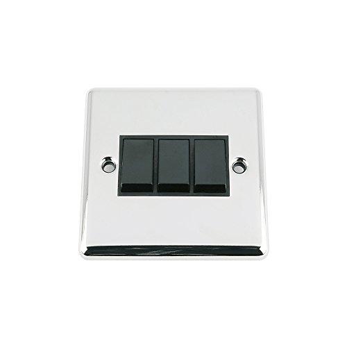 Aet SWI3GCCBL - A5 luz del interruptor de 3 cuadrillas - cromo...