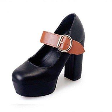 Talloni delle donne Primavera Estate Autunno Inverno Dress Comfort PU ufficio & carriera casuale tacco grosso Nero Marrone Rosso Black