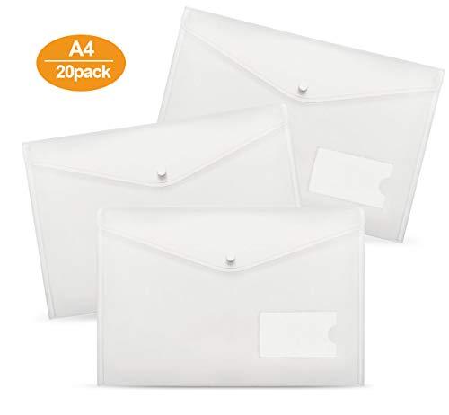 Dokumententaschen A4-20 Stück A4 Dokumententasche Sichttaschen für Dokument Speicherung mit druckknopf und Tasche