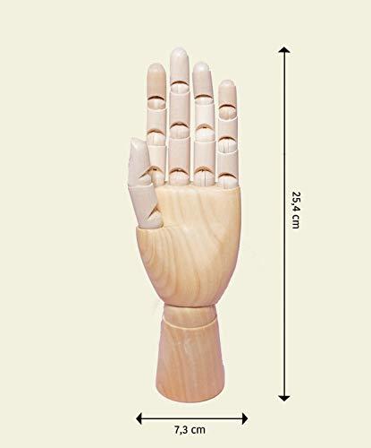 MONT MARTE Gliederhand – Modellhand aus Holz – linke Hand – 25,4 cm – Flexible Holzhand, ideal als Model zum Zeichnen - 2
