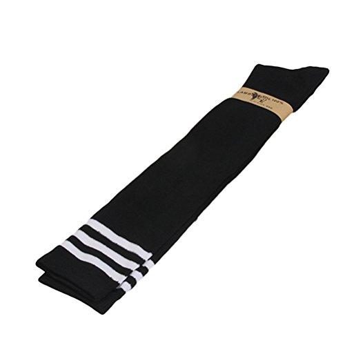OULII Lady Girls Comfy Strumpfwaren Stripe Schenkel High Tube Socken Knie Lange Strümpfe Basketball Fußball Socken Cosplay Socken (Schwarz) (Baumwoll-spandex-knie-hohe Socken)