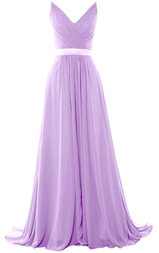 MACloth Women V Neck Mid Open Back Long Bridesmaid Dress Formal Evening Gown Lavendel