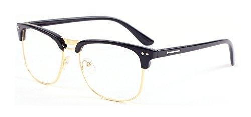 Montura para gafas Outray Vintage medio marco, lente transparente dorado Black/Gold Talla única